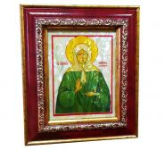 Икона МАТРОНА МОСКОВСКАЯ на перламутре в багете