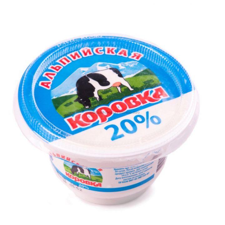 Продукт сметанный Альпийска коровка 20% 200гр Новосибирск