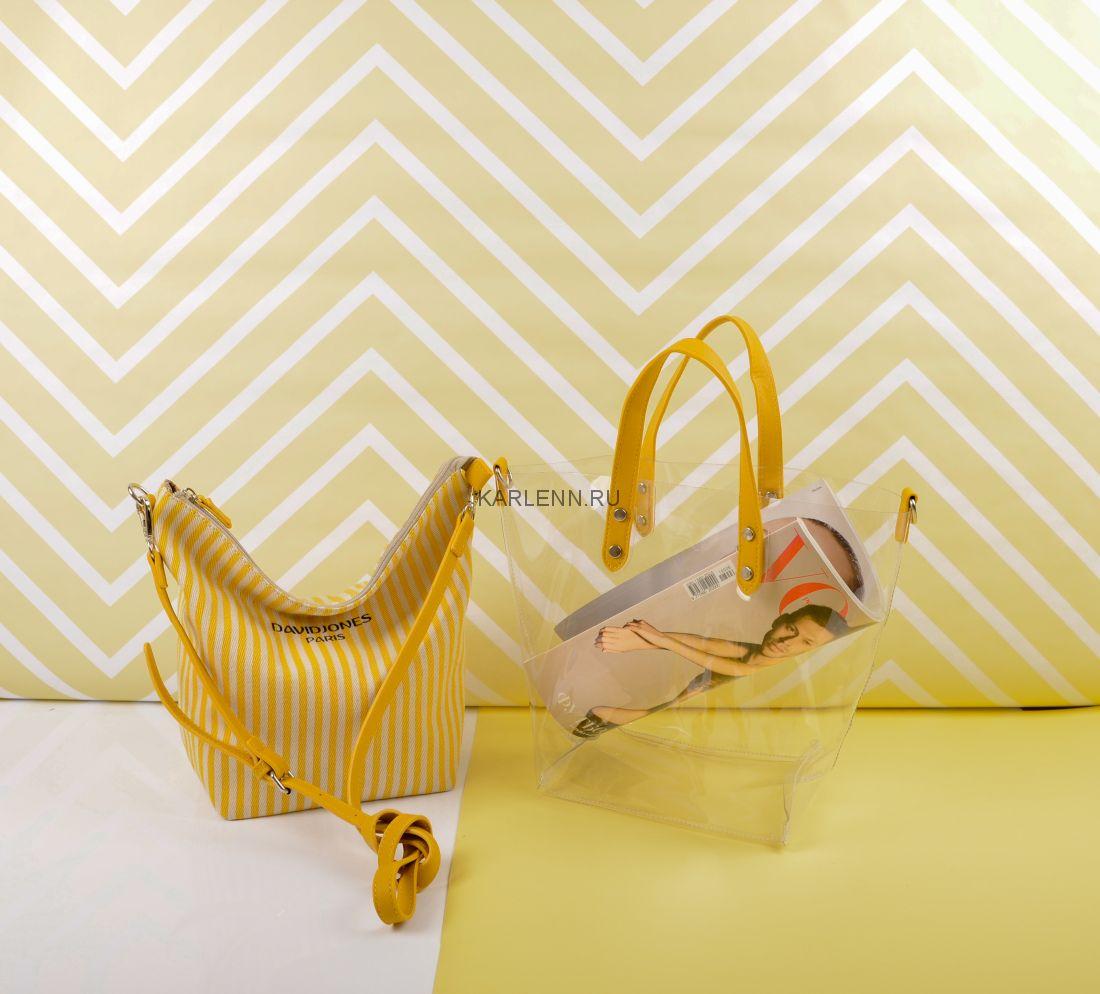 Прозрачная силиконовая сумка David Jones (жёлтая)