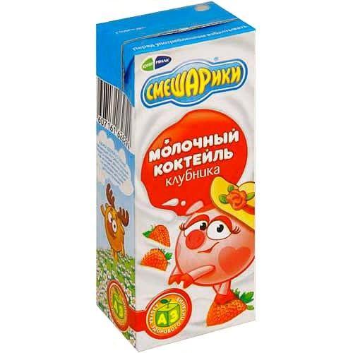 Коктейль Смешарики клубника 2,5% 200г Юнимилк