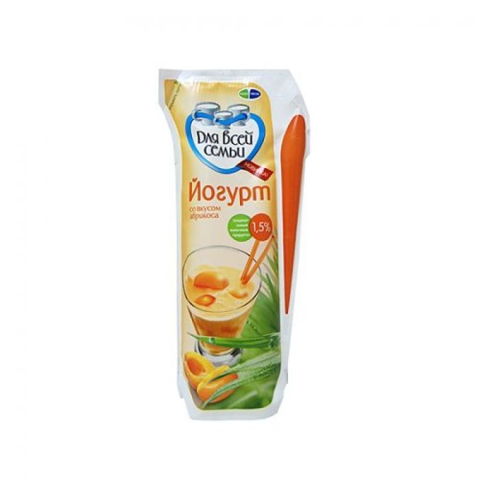 Йогурт Для всей семьи абрикос 1,5% 450мл. Юнимилк