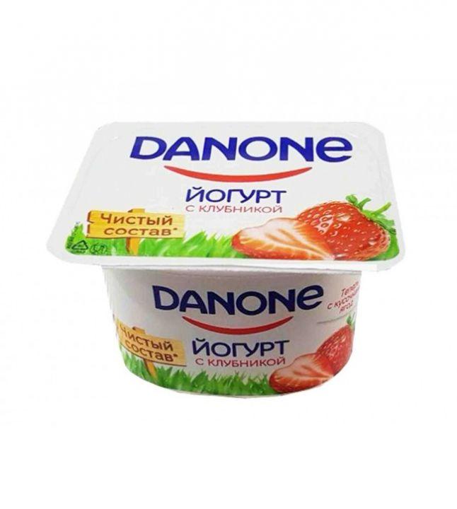 Йогурт Данон 7 полезных свойств молочный клубника 110гр. Данон Индустрия