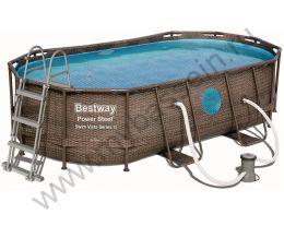 Каркасный бассейн Bestway Ротанг 56714 4,27х2,50 h1,00 м с картриджным фильтром