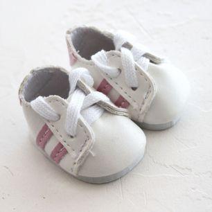 Обувь для кукол 4,5 см - кроссовки Белые с розовыми полосками