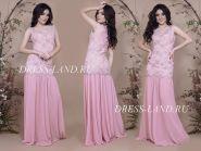 Пудровое облегающее вечернее платье