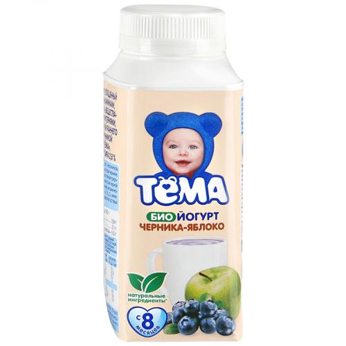 Йогурт Тёма 2.8% питьевой черника/яблоко 200г Юнимилк