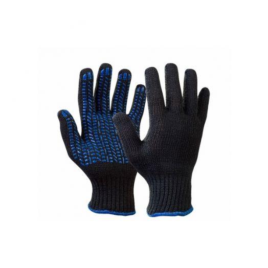 Перчатки х/б Люкс 7,5кл №6 черная с ПВХ Прораб уп. 2шт