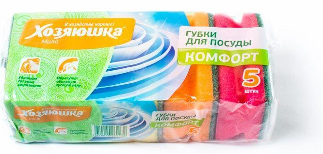 Губка д/посуды Хозяюшка комфорт 5шт