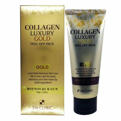 "3W Clinic Золотая маска-пленка для лица с коллагеном и золотом ""Collagen&Luxury Gold"""