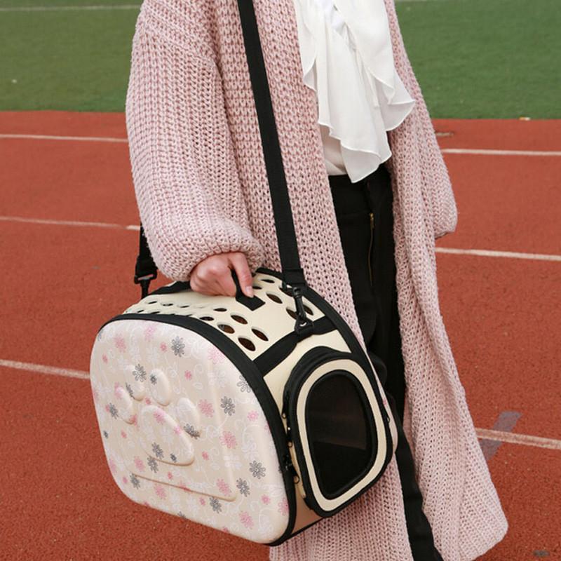 Складная сумка- переноска в цветочек для мелких животных до 6 кг, розовая