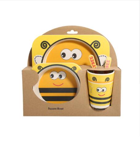 Набор детской посуды из бамбука Bamboo Ware Kids Set , 5 предметов, пчела