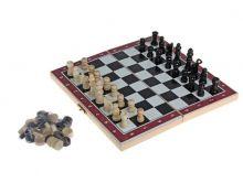 Настольная игра 3 в 1 нарды, шахматы, шашки, доска дерево 20х20 см