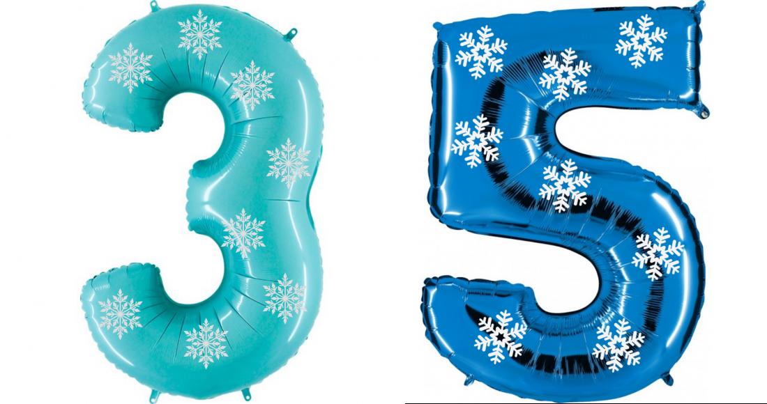 Цифра Снежинки шар фольгированный с гелием