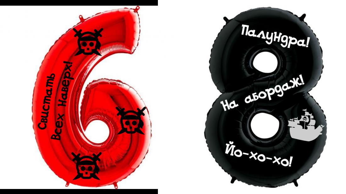 Цифра Пиратская шар фольгированный с гелием
