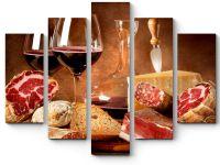 Модульная картина Натюрморт с вином