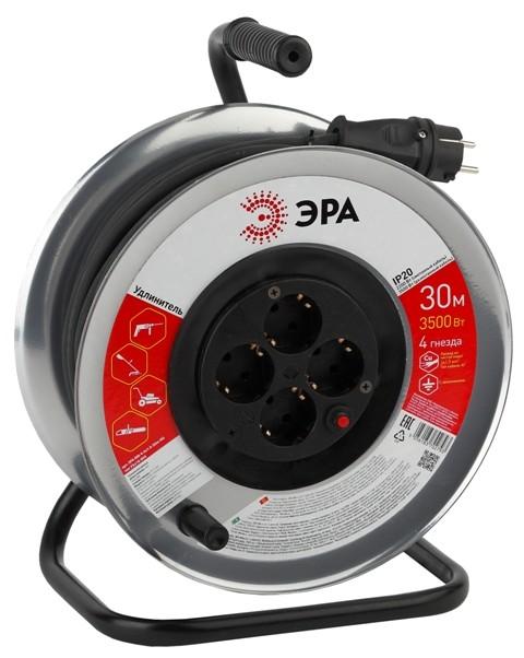 Сетевой удлинитель ЭРА RM-4-3x1.5-30m удлинитель силов ЭРА метал. катушка с заземл. 30м 4гн КГ 3х1.5 мм2 (2/36)