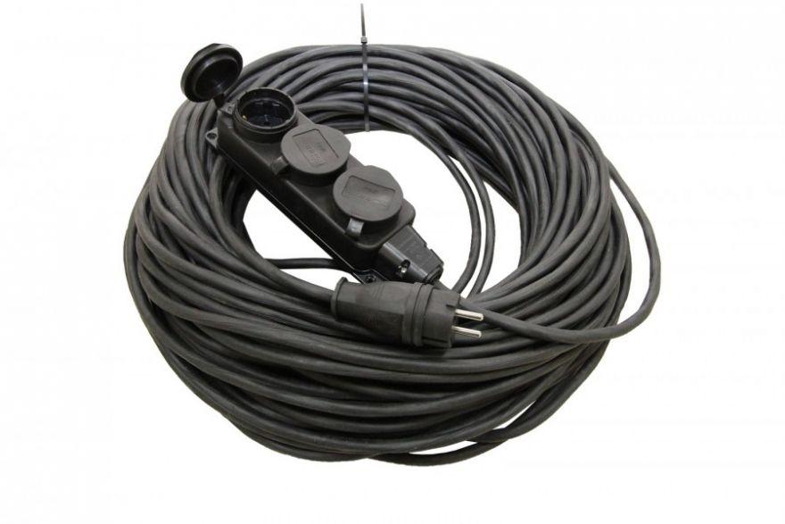 Сетевой удлинитель TDM Удлинитель-шнур силовой каучук УШз16-103 IP44 3 гнезда с/з, 50м КГ 3х1,5 SQ1302-0350