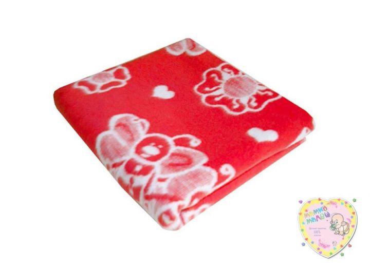 Одеяло детское байковое 118х110 (красный пчелки)