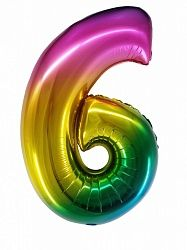 "Цифра ""6"" радуга 86см"