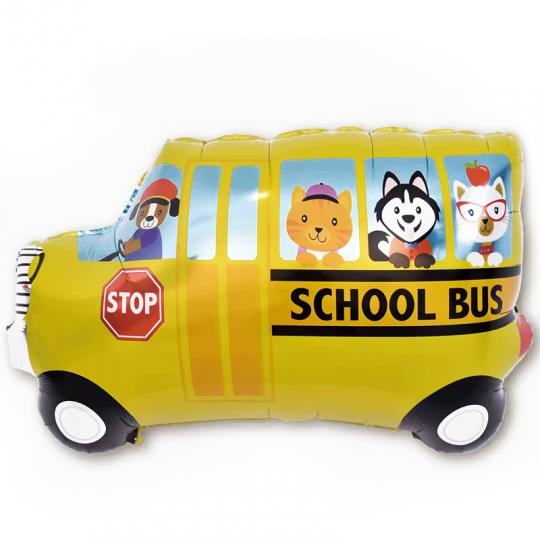 Школьный автобус шар фольгированный с гелием
