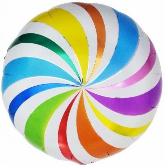 Радужная вертушка шар фольгированный с гелием