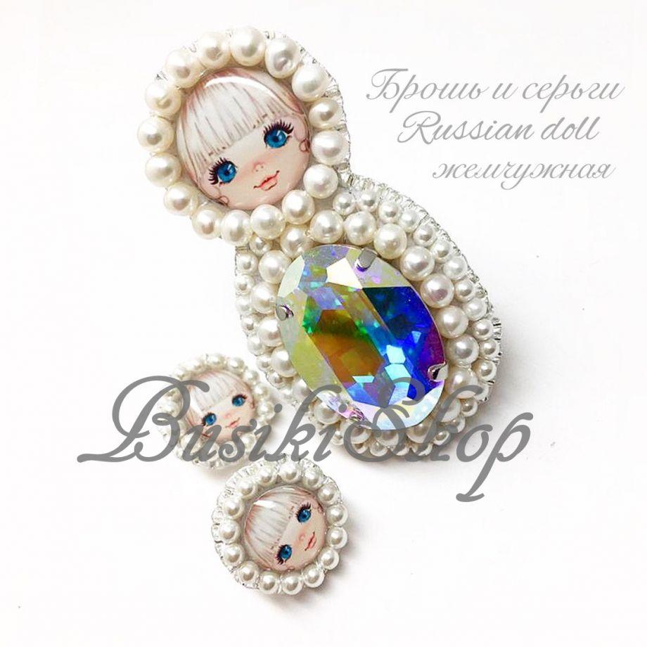 "Брошь и серьги ""Russian doll"""