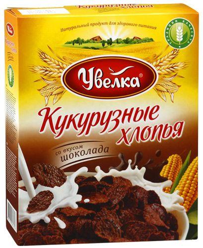 Завтрак Хлопья кукурузные со вкусом шоколада, глазированные сахарным сиропом 275г Увелка
