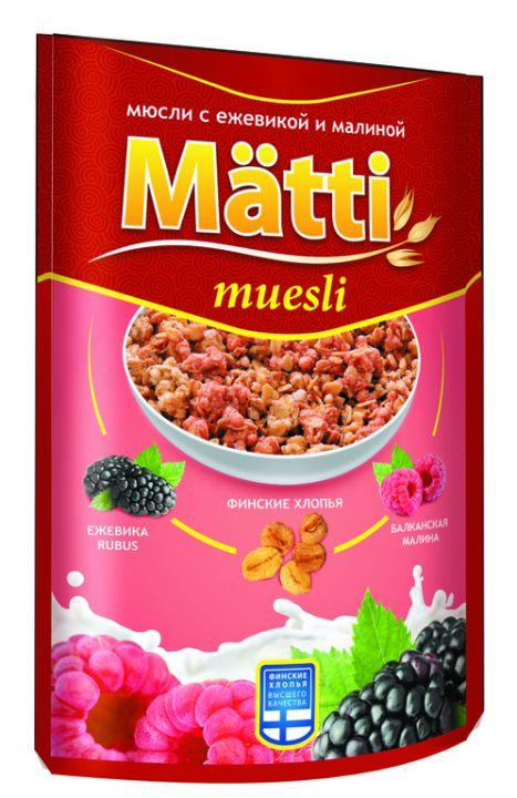 Мюсли Матти с ежевикой и малиной дойпак 250г