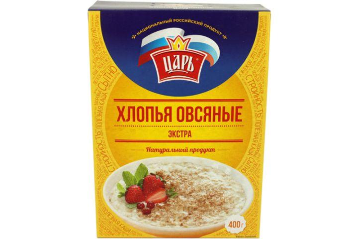 Хлопья Царь овсяные Экстра (коробка) 400г Союзпищпром