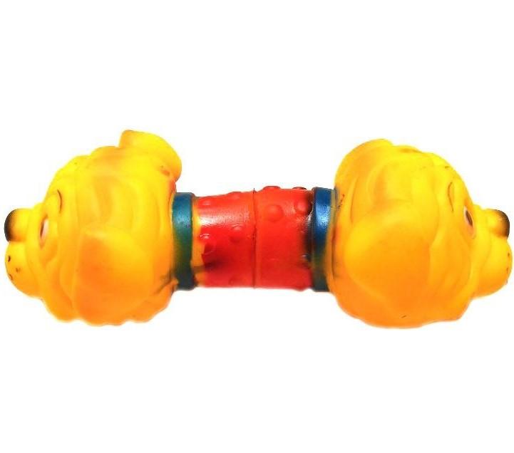 Виниловая игрушка-пищалка для собак Гантель Бульдог, 19 см
