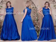 Синее вечернее платье с атласной юбкой