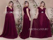 Бордовое вечернее платье с V-образным декольте