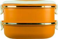 Ланч-бокс двухсекционный 1,6 литра оранжевый