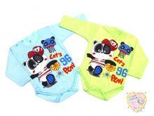 """Боди для мальчика 2 кнопки с длинным рукавом B-BD132(2)-IT (интерлок-пенье, панда) """"Мамин Малыш"""" код 01760"""