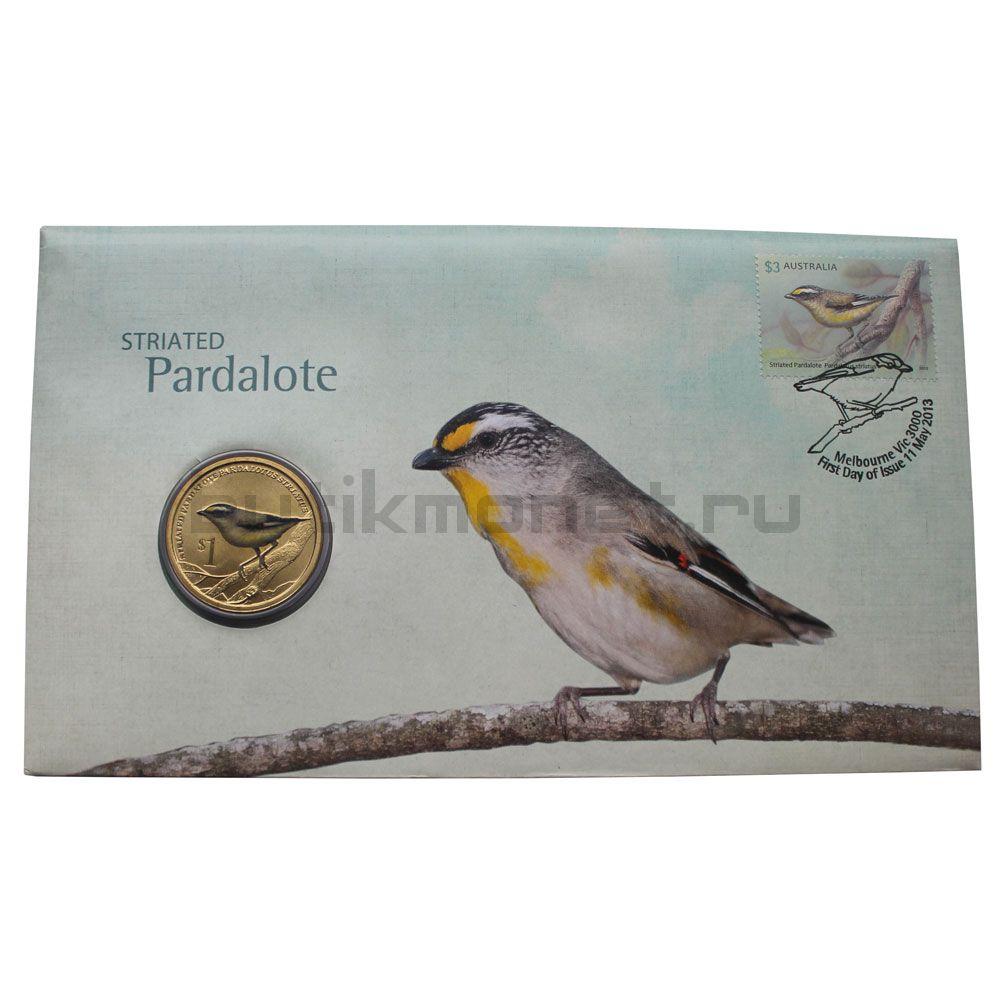 1 доллар 2013 Тувалу Полосатая радужная птица (Австралийские Водяные Птицы) в буклете