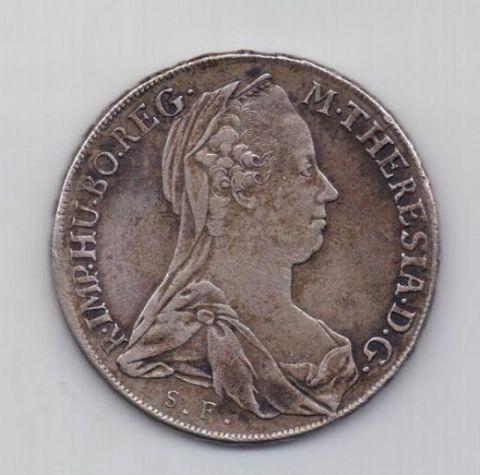 1 талер 1780 года AUNC Гюнцбург Австрия