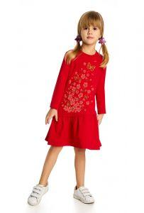 Красное с принтом платье для девочки