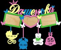 Метрика для ребенка с тремя фоторамками разноцветная на заказ