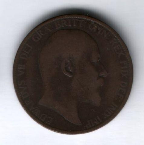 1 пенни 1902 года low sea level. редкий тип Великобритания, VF-