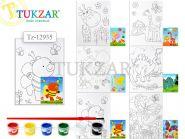 Холст для рисования с нанесенным рисунком, 13х18см, кисть и краски в комплекте, 6 видов в ассортименте (арт. TZ 12935)