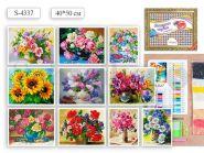 """Алмазная мозаика """"Цветы микс"""" на подрамнике, 40х50 см, 10 дизайнов в ассортименте (арт. S 4337)"""