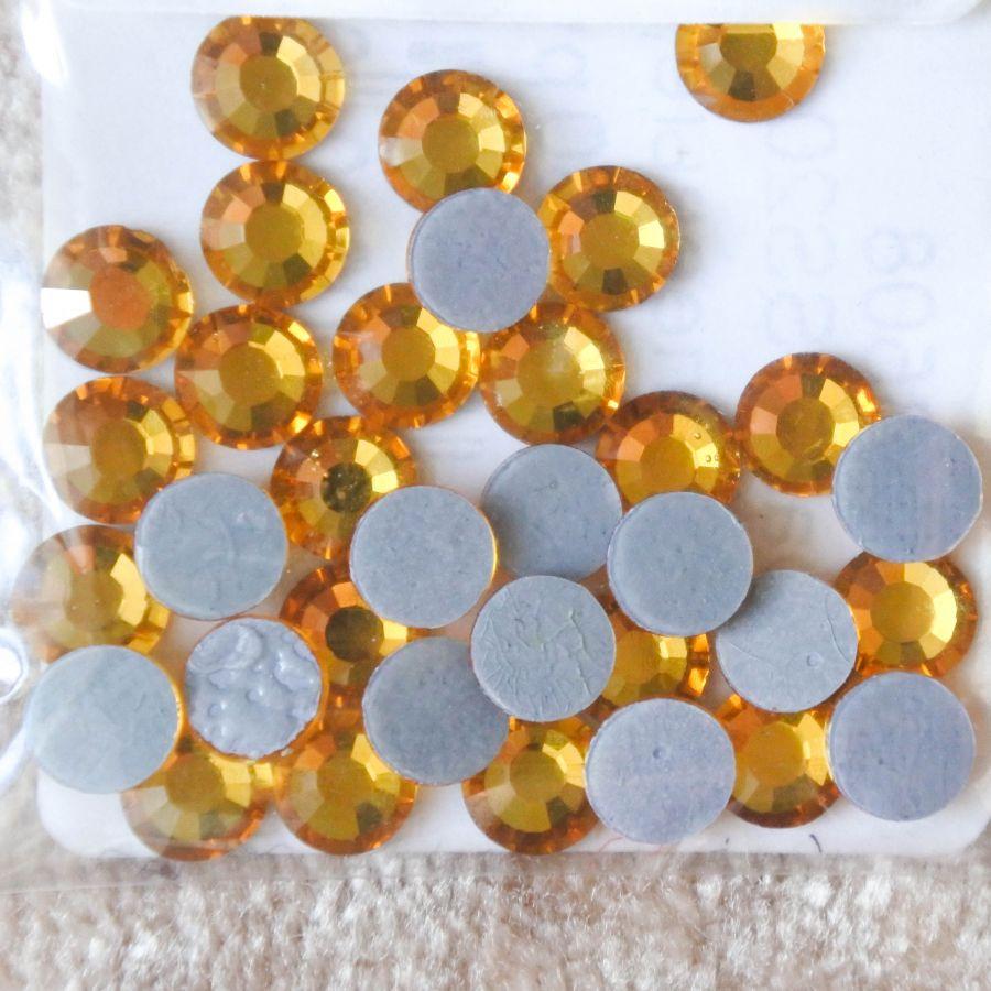 Стразы стеклянные клеевые, цвет Желтый, SS20, 35 шт/упак