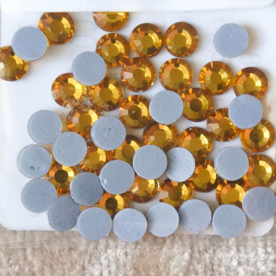 Стразы стеклянные клеевые, цвет Желтый, SS16, 50 шт/упак