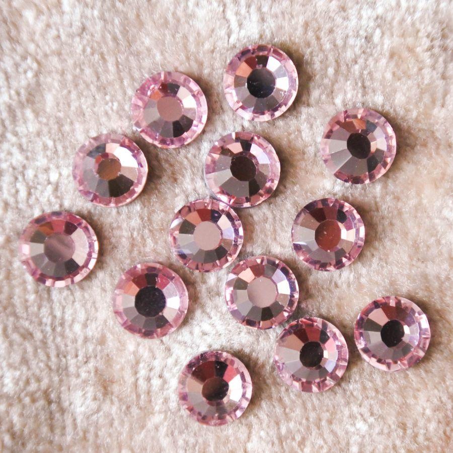 Стразы стеклянные клеевые, цвет Розовый, SS30, 12 шт/упак