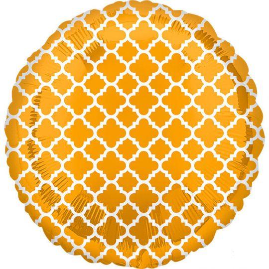 Круг с золотым узором Элит шар фольгированный с гелием