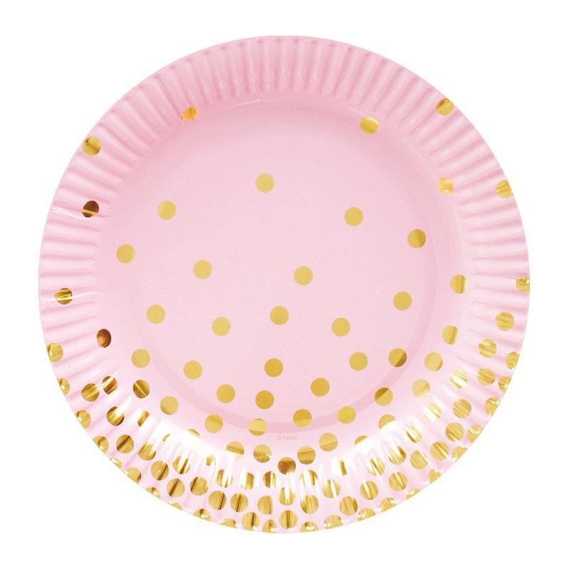 Тарелки малые розовые с золотым горошком