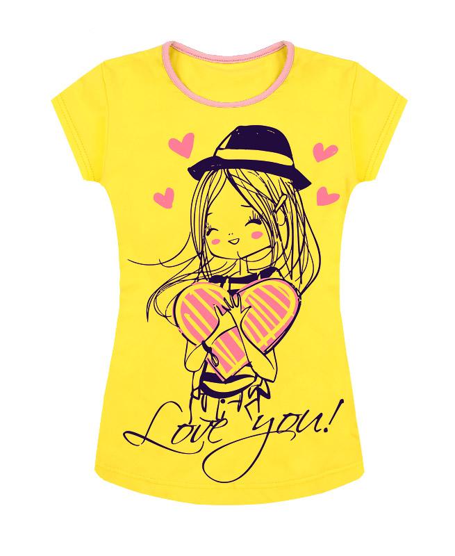 Жёлтая футболка для девочки