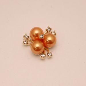 `Кабошон со стразами, цвет основы: золото, цвет стразы: оранжевый, размер: 23мм, Р-КБС0330-18