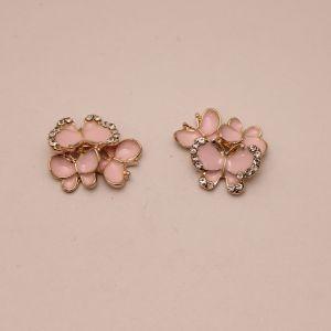 """`Кабошон со стразами """"Бабочки"""", цвет основы: золото, розовые бабочки, размер 20*15мм, Р-КБС0357-2"""