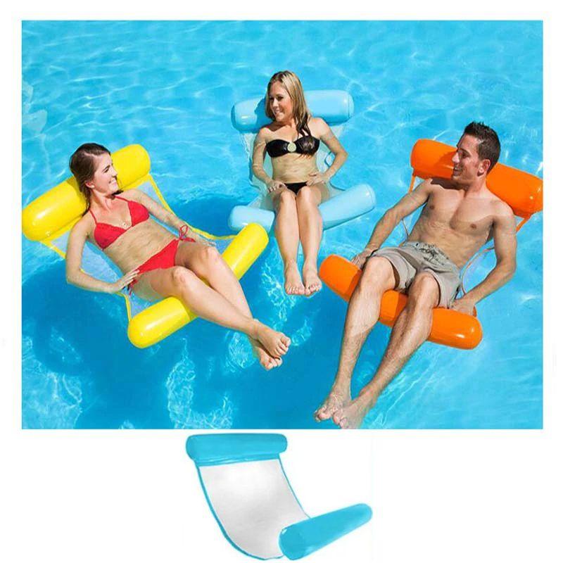 Надувной шезлонг для плавания Floating Bed, 130х73 см, цвет голубой